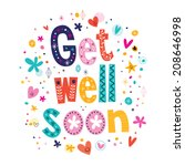 get well soon greeting card | Shutterstock .eps vector #208646998