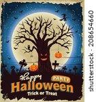 vintage halloween poster set... | Shutterstock .eps vector #208654660