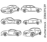 sketch car set | Shutterstock .eps vector #208659139
