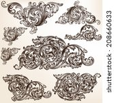 vector set of calligraphic... | Shutterstock .eps vector #208660633