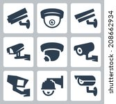 Cctv Cameras Vector Icons Set