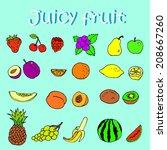 set of hand drawn juicy fruits... | Shutterstock .eps vector #208667260
