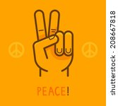 vector peace sign   hand... | Shutterstock .eps vector #208667818