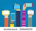 interaction hands using mobile... | Shutterstock .eps vector #208668250