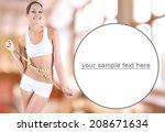 slim girl with tape on bright... | Shutterstock . vector #208671634