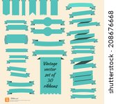 new vector set of ribbon green... | Shutterstock .eps vector #208676668