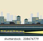 cross cut section of cityscape... | Shutterstock .eps vector #208676779
