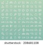 set of 100 minimal modern white ... | Shutterstock .eps vector #208681108