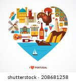 portugal love   heart with...   Shutterstock .eps vector #208681258