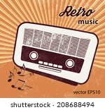 old radio   retro style   music ... | Shutterstock .eps vector #208688494