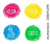 beautiful oil pastel round... | Shutterstock .eps vector #208691398