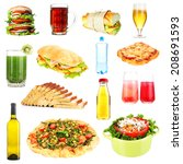 food and drinks collage... | Shutterstock . vector #208691593