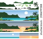 set of hawaii island and beach | Shutterstock .eps vector #208699588