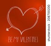 cute hand drawn valentine... | Shutterstock . vector #208700200