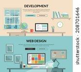 set of flat design concept for... | Shutterstock .eps vector #208701646