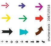 arrow sign vector icon set  ... | Shutterstock .eps vector #208715518