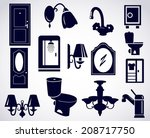 house set icon with furnitures... | Shutterstock .eps vector #208717750