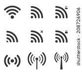 set of wi fi and wireless icons.... | Shutterstock .eps vector #208726906