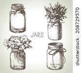 rustic  mason and canning jars... | Shutterstock .eps vector #208729570