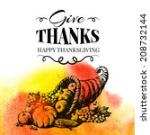 thanksgiving day background.... | Shutterstock .eps vector #208732144