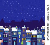 night christmas town background.... | Shutterstock .eps vector #208737076