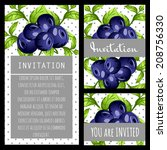 set of invitations with floral... | Shutterstock .eps vector #208756330