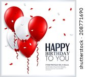 birthday card with balloons and ... | Shutterstock .eps vector #208771690