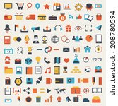 large set of social media icons | Shutterstock . vector #208780594