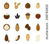 set of almond hazelnut coconut... | Shutterstock .eps vector #208782820