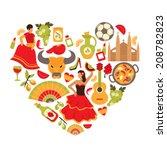 decorative spain cultural... | Shutterstock .eps vector #208782823