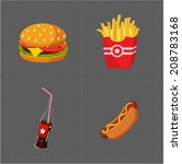 colorful fast food icon set on... | Shutterstock .eps vector #208783168