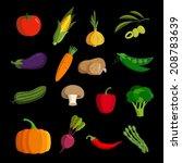 modern vegetable vector icon set   Shutterstock .eps vector #208783639