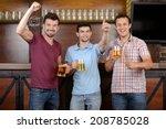 friends cheering. three happy... | Shutterstock . vector #208785028