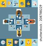 flat design business concept ... | Shutterstock .eps vector #208788229