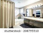 bathroom interior in light grey ...   Shutterstock . vector #208795510