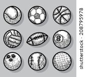 sport ball icons  hand drawn... | Shutterstock .eps vector #208795978