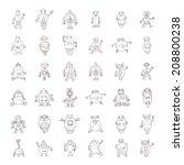 doodle robot cartoon  vector... | Shutterstock .eps vector #208800238