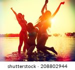 beach party. teenage girls... | Shutterstock . vector #208802944