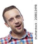 susprised young sympathetic man | Shutterstock . vector #208813498