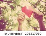 hands holding paper heart.... | Shutterstock . vector #208817080