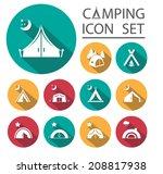 flat long shadow tourist tent... | Shutterstock .eps vector #208817938
