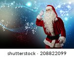 santa claus enjoying sound of... | Shutterstock . vector #208822099
