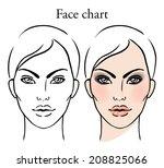 face chart makeup artist blank. ... | Shutterstock .eps vector #208825066