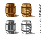wine or beer barrels engraving  ... | Shutterstock .eps vector #208846948