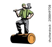 lumberjack with axe and downed...   Shutterstock .eps vector #208849708