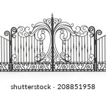 iron gate isolated on white... | Shutterstock . vector #208851958
