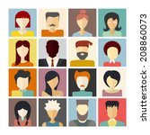 set of flat people icons.... | Shutterstock .eps vector #208860073