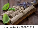 raw soba noodles with fresh... | Shutterstock . vector #208861714