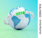 New Year 2015 around Earth planet on gradient background - stock photo