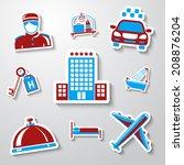 set of hotel sticker icons  ...